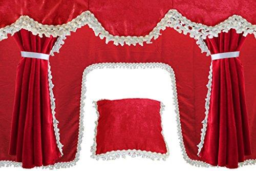 AutoCommerse 5er Set Gardinen Querbehang Satin mit weißen Quasten Windschutzscheibe Frontblende + 2 Seitenfenster + Kissen + Tunnelvorhang Universal für LKW LKW rot