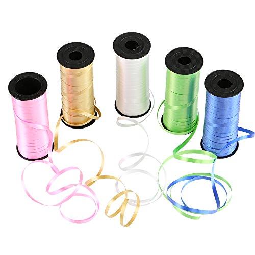 Naler Geschenkband Polyband in 5 Farben Ringelband Deko Band für Ballonverschlüsse Geschenkverpackung Basteln (5 Rollen)