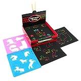 Scratch -Art Set 100 Papel de Rascar para Niños Manualidades para Niños con 4 plantillas de pintura, 2 lápices de madera