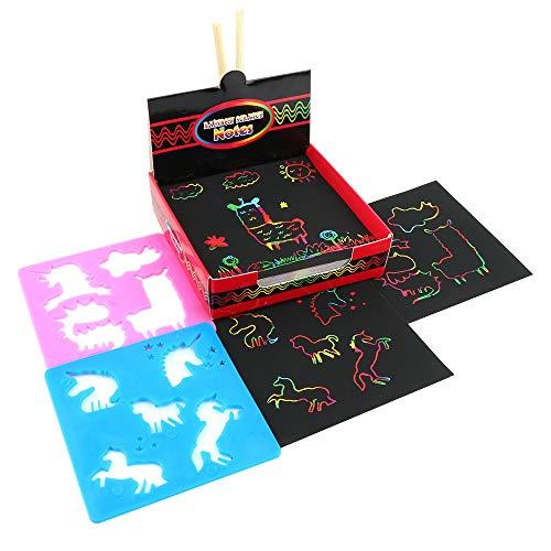 QWEF Kratzbilder für Kinder 100Pcs Regenbogen Scratch Art Kratzpapier Kombi Kunst Set mit 2 Schablonen 2 Holzstiften für Weihnachten Geburtstage Partys