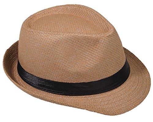 Strohhut Panama Fedora Trilby Gangster Hut Sonnenhut mit Stoffband Farbe:-Kamel (Strohhut) Gr:-58