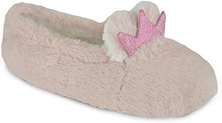 Kids Girls Crown Slippers Comfortable Bunny Ballet Winter Slippers Warm Indoor/Outdoor Anti-Slip Sole Bunny
