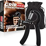 Grip Strength Trainer, Adjustable Hand Grip Strengthener, Forearm Exerciser, Finger Strengthener Trainer (11 to 88 LB), Wrist Forearm Grip Workout | Home Gym Exercise Equipment, Workout Gear For Home