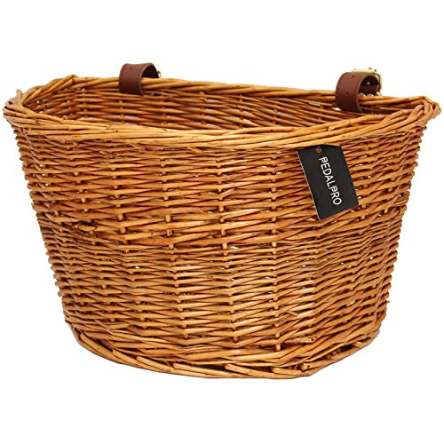 PedalPro Vintage Wicker Bicycle Basket with Tan Leather...