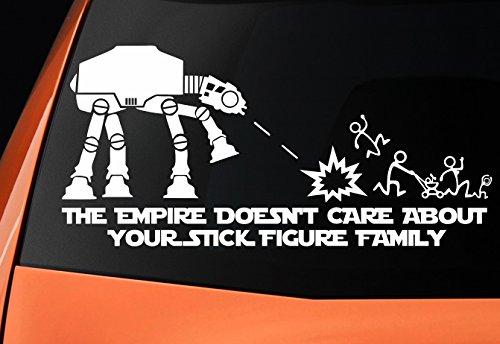 """Level 33®, adesivo in vinile a tema Star Wars con un Camminatore AT-AT e con la scritta in lingua inglese: """"The empire doesn't care about your stick figure family"""""""