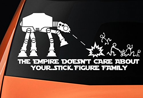 "Level 33®, adesivo in vinile a tema Star Wars con un Camminatore AT-AT e con la scritta in lingua inglese: ""The empire doesn't care about your stick figure family"""