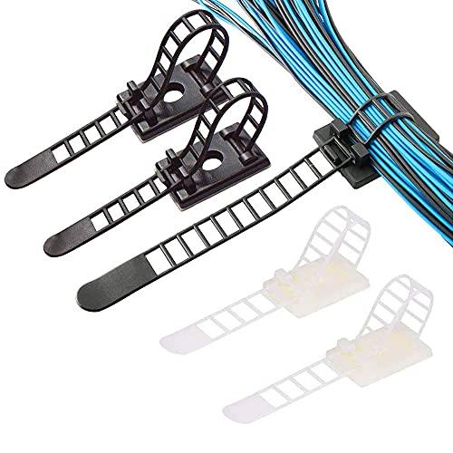 60 Piezas Ajustable Abrazadera de Cables, Bridas para Cables Clips, Clips de Cable Adhesivos, Sujetacables, Clips para Cables...