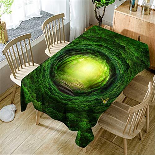 Mantel impermeable impermeable Qishi con impresión digital, Verde 3D., 55.12*86.61in