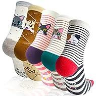 4-5 Pairs Womens Cute Animal Socks, Fun and Cool Cotton Art Socks,One Size