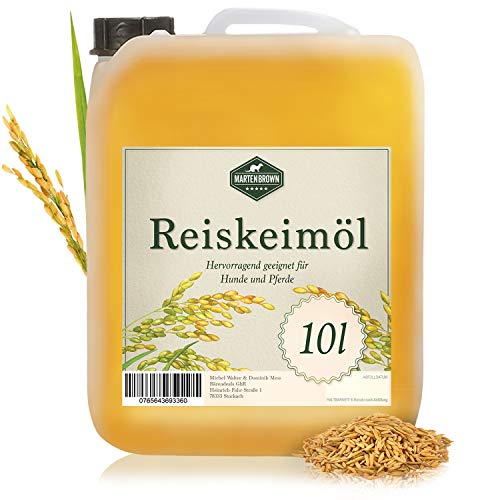 Martenbrown Reiskeimöl für Pferde, Hunde und Esel im 10 Liter Kanister (raffiniert) für Muskelaufbau Tiere
