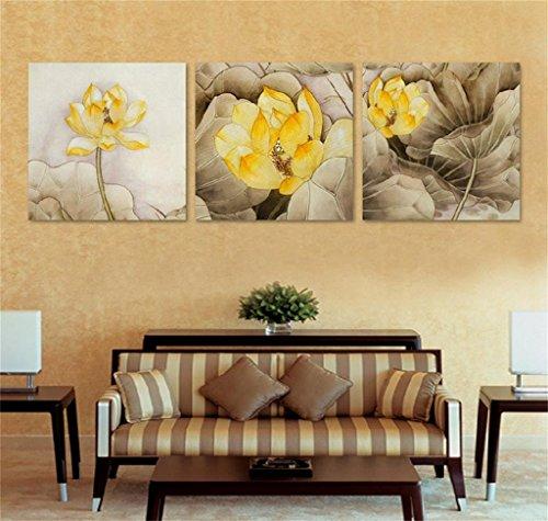 Zytyek Dekorative Malerei Zimmer Modernes einfache Sofa-Hintergrund-Wand Triple-Malerei Lotus-Kunst-Malereien for Wand (Size : 50 * 50 * 2.5cm)