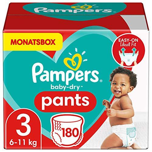 Pampers Größe 3 Baby Dry Baby Windeln Pants, 180 Stück, MONATSBOX, Für Atmungsaktive Trockenheit (6-11kg)
