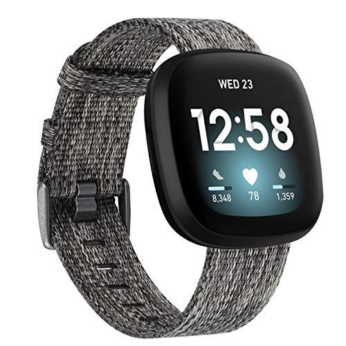 【Amazon限定ブランド】Wearlizer Fitbit Versa3 バンド/Fitbit Senseバンド Fitbit Versa3/Fitbit Senseに対応 Fitbit Versa3 カンバスバンド ナイロン製 Fitbit Senseスポーツループバンド 工具が要らなく、気軽に差し替える(グレー L)