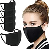 5 PACK Cotton Black Face Cover Mask Reusable Washable Face Mouth Cover
