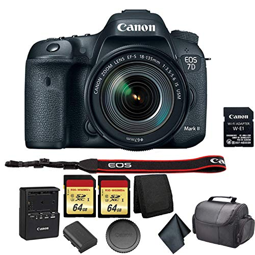 Canon EOS 7D Mark II DSLR Camera with 18-135mm f/3.5-5.6 is USM Lens & Wi-Fi Adapter Bundle Kit with 2X 64GB Memory Card + Carrying Case + More - International Model
