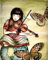 Yugipotu 数字ママ愛のアートワークギフトキャンバスの描画娘の描画手塗装アートキットDIY油絵家の装飾 30X40CM