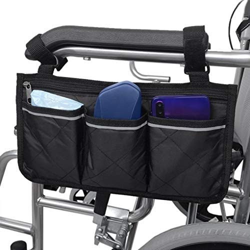 Wheelchair Side Bag with Pouches Portable Armrest Storage Bag Lightweight Nurse Bag Wheelchair Accessories Organizers for Electric Wheelchairs Scooter Walkers Rollator