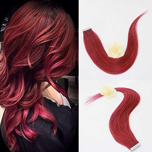 Extensions de cheveux synthétiques lisses et lisses avec bande adhésive Rouge bordeaux 45,7 cm 20 pièces