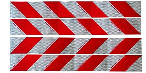UvV Kfz Warnmarkierungsfolie 4,2 Meter Reflexfolie für 2 Baustellen- Fahrzeuge mit Sonderrechten. Set 141mm x 2,1m Links und rechts