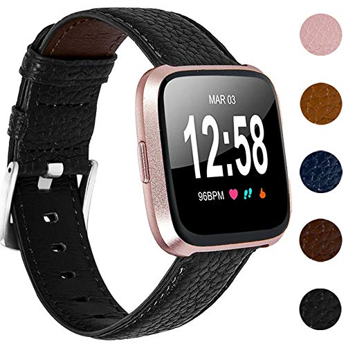 Nigaee Uhrenarmband kompatibel mit Fitbit Versa 2 Lederarmband Fitbit Versa Armband Leder für Fitbit Versa Lite Ersatzarmband aus echtem Leder Armbänder Versa 2 Special Edition Armband Zubehör