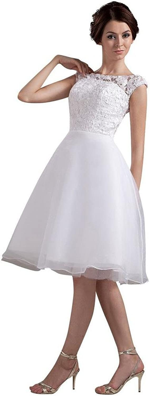 Dearta Women's ALine Bateau Sleeveless KneeLength Wedding Dresses