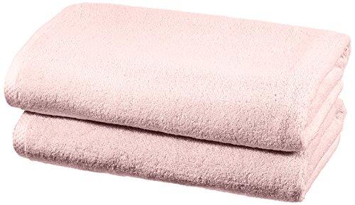Amazon Basics - Handtuch-Set, schnelltrocknend, 2 Badetücher - Blütenrosa, 100 Prozent Baumwolle