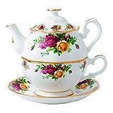 Royal Albert Old Country Roses 3-in-1 Teekanne, 477 ml, hauptsächlich weiß mit buntem Blumendruck