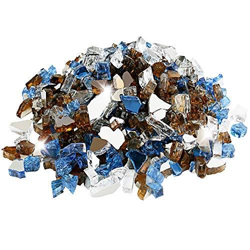 Utheer Feuerglas gemischt Pacific Blue Platin Kupfer Reflektierend 4,3 kg 1/2 Zoll für Innen Außen Kamin Feuerstellen Feuerschalen Vasen Füllstoffe Garten Landschaft Deko
