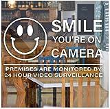 Sonrisa Estás en la cámara Etiqueta de video vigilancia Etiqueta Tienda Tienda Negocio Restaurante Cafetería Calcomanías de vinilo57x34cm