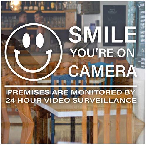 Lächeln Sie sind auf Kamera Videoüberwachung Aufkleber Zeichen Geschäft Geschäft Restaurant Cafe Vinyl Decals57x34cm