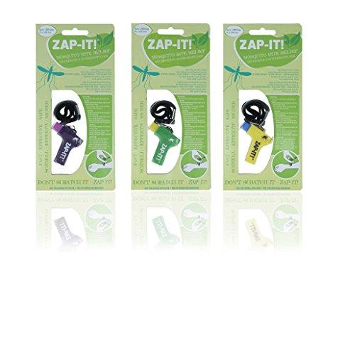 Horn Medical Paquete de 3 Zap IT Originales contra el Dolor/picazón en Las picaduras de Mosquitos, Diferentes Combinaciones de Colores (1x púrpura, 1x Verde, 1x Amarillo)