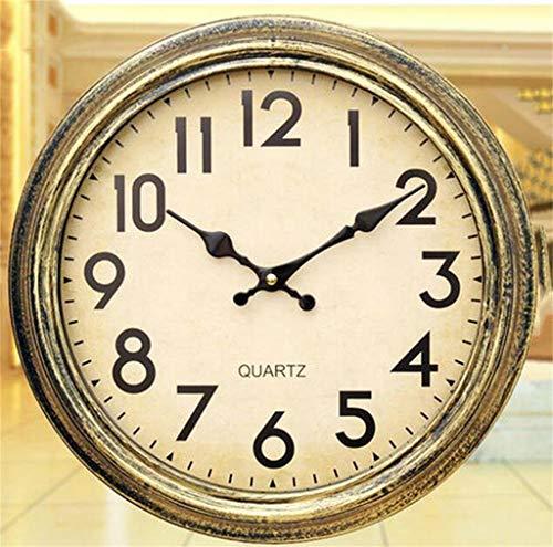 WLGQ Reloj de Pared El Reloj de Pared Mudo Retro de 14 Pulgadas Dormitorio Sala de Estar Reloj de Pared Relojes Luminosos Reloj de Cuarzo Mesa Colgante Reloj de Pared (Color: Figuras de Bronce)