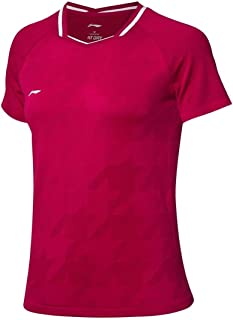 LI-NING Women Badminton Competition T-Shirts 75.1% Polyester 24.9% Nylon at Dry Lining MonoYarn Sports Tops Tees AAYP026