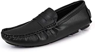 Dongxiong Simple and classic driving loafer man mat snug weakening napus slip Ragusoru simulated leather on a low-top vegan boat shoes Round Toe slip (Color : Black, Size : 38 EU)