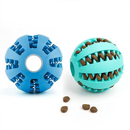 Dewel 2pcs Pelota Perros Maticar Mascotas Pet Ball Juguetes para Mascotas Elasticidad Diente Bola de Limpieza