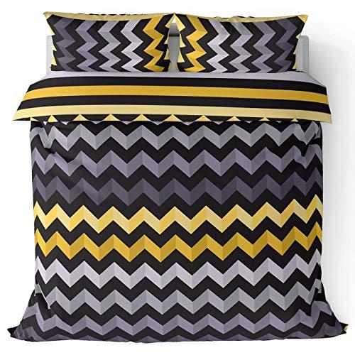 Ochre Black Chevron Stripes Reversible Print Duvet Cover, Modern Bright Zig Zag Stripe Design Duvet Covers, Kids Teens Bedroom Easy Care Cotton Blend Quilt Sets Mustard Yellow (Double)