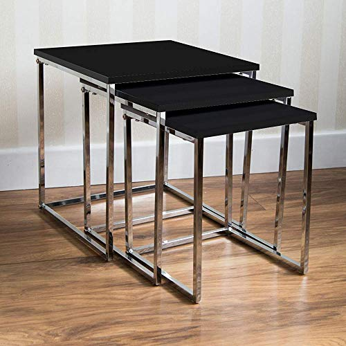 Nesting Tables Chrome Metal Set of 3 High Gloss Nest Tables for Living Room Bedroom Small Spaces Coffee Table Snack Table Modern Design (Black)