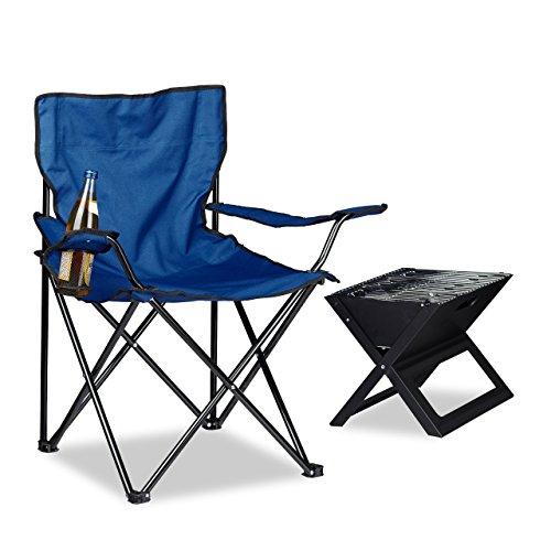 Relaxdays Silla Camping Plegable Acolchada con Reposabrazos, Soporte para Bebidas y Bolsa de Transporte, Azul