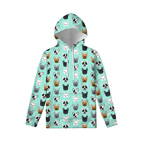 WELLFLYHOM French Bulldog Children Kids Hoodie Jumper Long Sleeve Hooded Pullover for Boys Girls Cute Teen Sweatshirt with Pocket Hoody Sweater 11-13 Year Old Turquoise