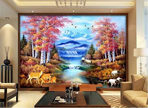 Tapeten Benutzerdefinierte Wandbild-Wandaufkleber Des Raumes 3D Ländliche Waldschneegebirgslandschaftsmalerei-Fotowandtapete
