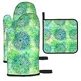 IUBBKI - Juego de 3 manoplas y soportes para ollas, Mandala azul y verde, guantes de cocina y soportes para ollas, guantes de cocina antideslizantes para cocinar, hornear, asar a la parrilla