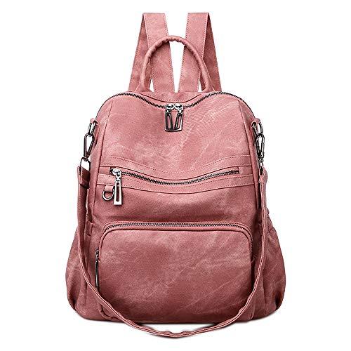 Neuleben Frauen Damen Rucksack Tasche Umhängetasche Daypack PU Leder Handtasche Schultertasche mit Diebstahlsicher Rucksacktasche Damentasche für Alltag Schule Uni Büro Reise (Pink)