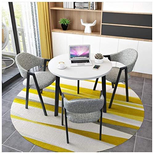 Runder Tisch und Stühle, Kombination, Büro, Konferenzraum, ein kleiner runder Tisch, Milch, Teeshop, Lounge, Restaurant, Geschäftsverhandlungen, 80 cm, Holztisch und Baumwoll-Leinsstuhl