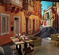 Sunkuxc カスタム写真壁紙用壁3Dヨーロッパスタイルストリートシティ風景壁画レストランカフェリビングルーム壁画の装飾-200X140Cm