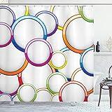 ABAKUHAUS Bunt Duschvorhang, Kreise r&en Muster, mit 12 Ringe Set Wasserdicht Stielvoll Modern Farbfest & Schimmel Resistent, 175x180 cm, Mehrfarbig