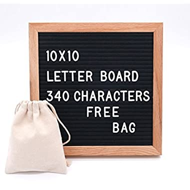 10 X 10 Premium Changeable Felt Letter Board, Solid Oak Frame, 340 White Letters with characters & Wall Hook. (Black)