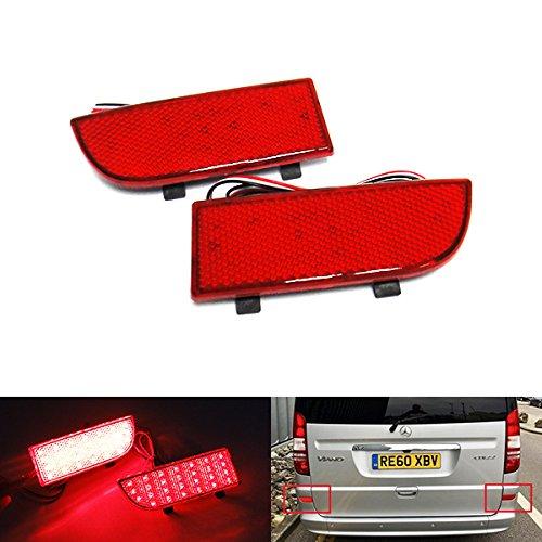 2 luces de freno traseras para parachoques trasero de lentes rojas para MB Viano Vito W639 de 2003-14