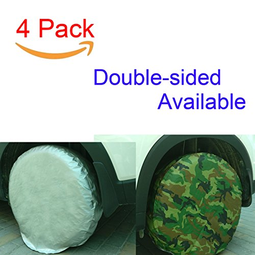 Bingdle Set of 4 Tire Covers for RVS Auto Truck Camper Trailer Waterproof Aluminum Film If Breakage Within 2 Years,Resend New Item Immediately (Camouflage 25-28