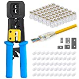Everest Media Solutions RJ45 Crimp Tool Kit for Pass Through Connector End With 50 Cat6 Pass Through Connectors & 50 Clear Cable Strain Relief Boots & Extra blades