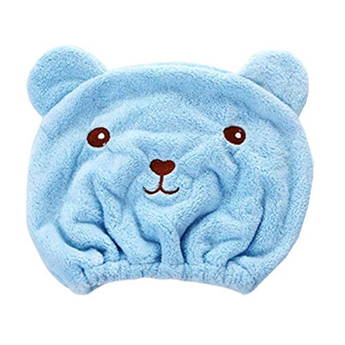 Mdsfe Ouneed Hair Hat Cute Cartoon Bear Microfiber Hair Turban Sombrero de Cabello de Secado rápido Wrapped Home Towel Gorro de baño para Mujeres Niñas # 45 - Azul,